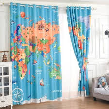 World Map Curtains For Kids Bedroom Baby Blue Window Drapes Kids Room Curtains Childrens Curtains Kids Curtains