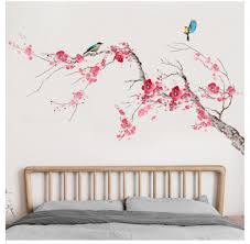 Elegant Pink Peach Blossom Floral Branch Wall Decal Natural Flower With Bird Wall Stickers Living Room Wall Decor Peel Stick Mural Girls Thefuns On Artfire