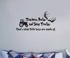 Amazon Com Vpkki Wall Decor Stickers For Living Room Tractors Bucks And Shiny Trucks That S Why Little Boys Are Made Of For Boys Room Home Decor Home Kitchen