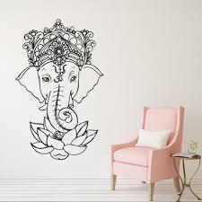 Elephant Vinyl Wall Stickers Yoga Ganesh Tribal Wall Mural Buddha Lotus Home Decor India Elephant Wall Decal Yoga Sticker Ay1278 Wall Stickers Aliexpress