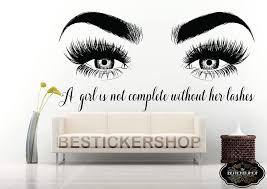 Amazon Com Bestickershop Eyelashes Decal Eyebrows Decal Lash Decal Beauty Salon Decal Brow Eyelashes Wall Decal Lashes L17 Home Kitchen