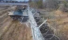Moment Drunk Russian Soldiers Smash Tank Through Metal Fence Of Volgograd Airport Daily Mail Online