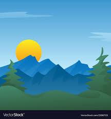 peaceful blue mounn landscape scene