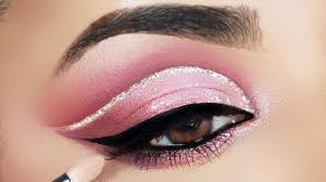 soft pink monotone glitter cut crease makeup tutorial you