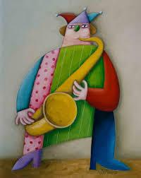 Palhaço tocando saxofone