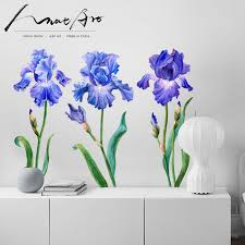 Iris Painting Wall Decor Art Flowers Watercolor Decorative Picture Bedroom Decor Modern Nordic Home Decoration Accessories Diy Wall Stickers Aliexpress