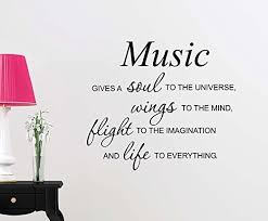 Amazon Com Vinyl Wall Decal Music Gives A Soul To The Universe Wings To The Mind Flight To The Imagination And Life Love Cute Inspirational Family Love Vinyl Quote Saying Wall Art Lettering