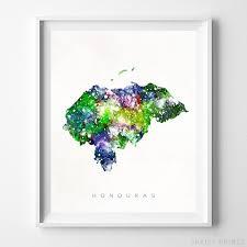 Honduras Watercolor Map Wall Art Home Decor Poster Artwork Gift Print Unframed Ebay