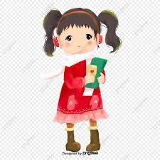 لطيف فتاة الكرتون اللباس تنورة حمراء حرف جزء كرتون Png