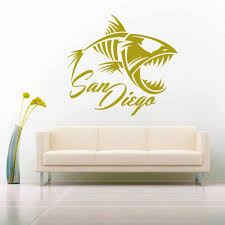San Diego Fish Skeleton Vinyl Car Window Decal Sticker