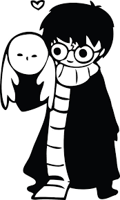 Cute Hand Drawn Harry Potter With Hedwig Owl Decal Sticker 5 00 Free Shipping Hogwarts Harry Potter Stencils Harry Potter Clip Art Harry Potter Silhouette