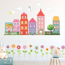 Girl S Dollhouse Town Wall Decals Medium Size With Flower Border Eco