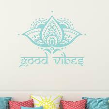 Lotus Flower Wall Decal Yoga Decal Good Vibes Vinyl Sticker Bedroom Decor T102