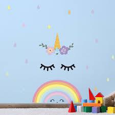 Zoomie Kids Sleeping Unicorn And Rainbow Wall Decal Wayfair