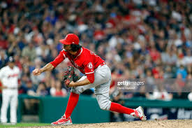 Noe Ramirez of the Los Angeles Angels of Anaheim pitches against ...