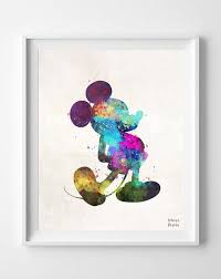 mickey disney watercolor art