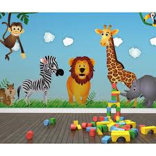 حيوانات الكرتون لطيف الفن الأسد زيبرا 3d معيشة جدارية رولز للأطفال