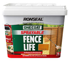 Ronseal One Coat Sprayable Fence Life Harvest Gold Shed Fence Stain 9l Departments Diy At B Q Fence Stain Shed Stain