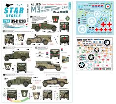 Star Decals Decals For 1 35 Allied M3a1 White Scout Car Polish Nz South African British M3a1s In Italy