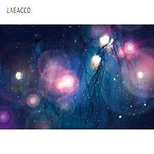 Laeacco صور الخلفيات السحر لامعة منقطة الشتاء تساقط الثلوج شجرة