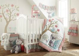 Levtex Baby Fiona Crib Bed Set Baby Nursery Set Pink Teal White Woodland Forest Theme 5 Piece Set Includes Quilt Fitted Sheet Diaper Stacker Wall Decal Crib Skirt Dust Ruffle