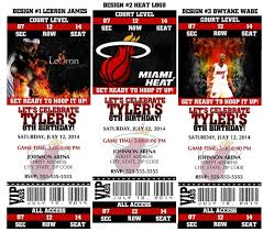 Printable Miami Heat Basketball Nba Birthday Party Invitations