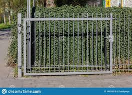 Iron Garden Fence With Lock Stock Image Image Of Front Plant 146049315