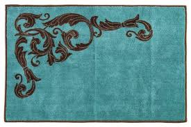 turquoise scroll accent rug