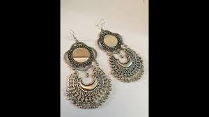 afghani silver oxidized earring