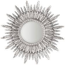 round silver sunburst wall mirror 90 x