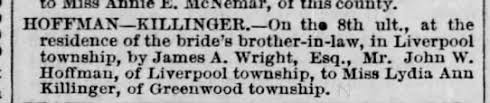 Lydia Killinger marriage to John Wesley Hoffman 18 Dec 1872 Perry County PA  - Newspapers.com