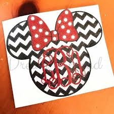 Glitter Monogram Minnie Mouse Chevron Decal Disney Laptop Decal Yeti Decal Car Decal Girly Made To Order Glitter Monogrammed Yeti Decals Minnie Mouse