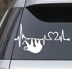 Amazon Com Sloth Heartbeat Lifeline Heart Love White 7 5 Vinyl Decal Sticker Perfect For Car Laptop Window Wall Yeti Cup Arts Crafts Sewing