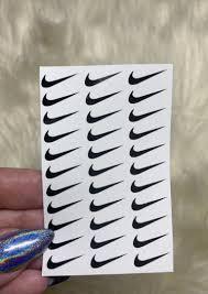 Black Nike Check Logo Vinyl Nail Decals Liquid Glam Nail Supply