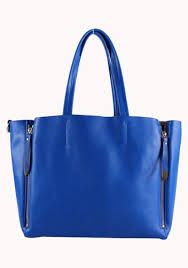 vicky zipper leather tote bag blue