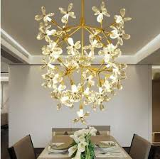 flower crystal chandelier gold iron