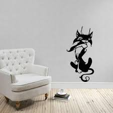 Amazon Com Cat Animal Wall Art Stickers Vinyl Wall Decals For Women And Kids Removable Funny Kitten Black Cat Silhouette Wall Decals For Living Room Bedroom Girl Kindergarten Children Room