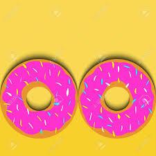 Fondo En Colores Retro Con Donuts Cortados En Papel Para Tarjetas