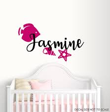 Name Wall Decals Nursery Wall Decal Fish Vinyl Decal Kids Room Decals Starfish Vinyl Nursery Vinyl Sticker G Nursery Vinyl Baby Room Decals Nursery Wall Decals