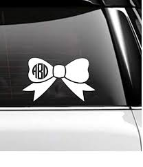 Amazon Com Monogram Bow Car Decal Cheer Bow Tumbler Decal Handmade