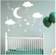 Amazon Com Kids Bedroom Moon Cloud Wall Stickers Elevin Tm Wall Decals Stickers Removable Waterproof Self Adhesive Paper Mural Wall Art Wallpaper Home Room Decor White Home Kitchen