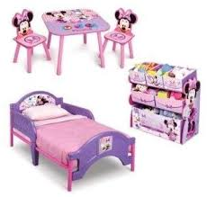 Amazon Com Minnie Mouse Toddler Bedroom Furniture 3 Piece Set Girls Pink Toddler Bed With Minnie Multi Bin Toy Box And Kids Minnie Art Table And Chairs Baby