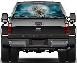 White Wolves Full Moon Car Rear Window See Through Net Decal Decalz Co
