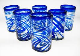 drinking glasses blue swirl set of 6