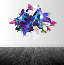 Floral Wall Decal Girl S Bedroom Decal Vinyl Wall Decal Blue Pink White Flowers Photo By Abby Smith Infinite Graphics Floral Sticker