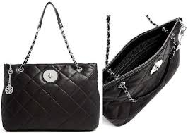 dkny quilted black leather tote bag
