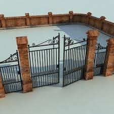 Brick Fence Wall Gate 3d Model Brick Fence Brick Dream House Exterior
