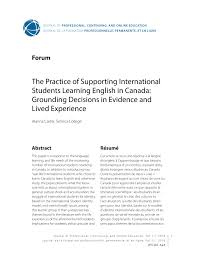 PDF) The Practice of Supporting International Students Learning English in  Canada: Grounding Decisions in Evidence and Lived Experience