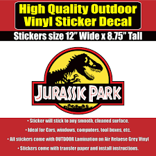 Jurassic Park Movie Jeep Vinyl Car Window Laptop Bumper Sticker Decal Colorado Sticker