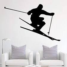 Amazon Com Skiing Wall Decal Ski Vinyl Stickers Ski Decal Skier Art Decal Ski Jumping Freestyle Sports 682u Home Kitchen